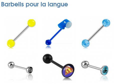 piercing langue barbells m tal avec boules barbells pour la langue. Black Bedroom Furniture Sets. Home Design Ideas