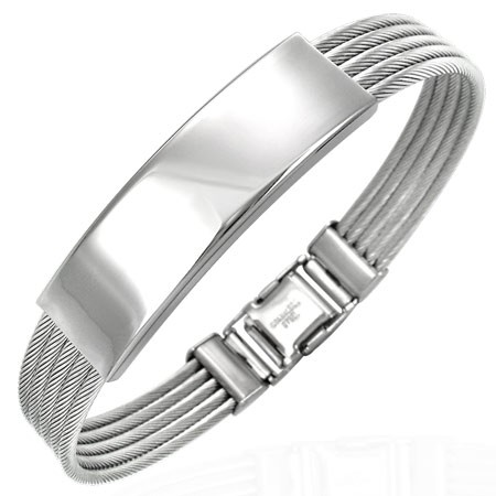 bracelet 5 c bles acier bicolore zran011. Black Bedroom Furniture Sets. Home Design Ideas