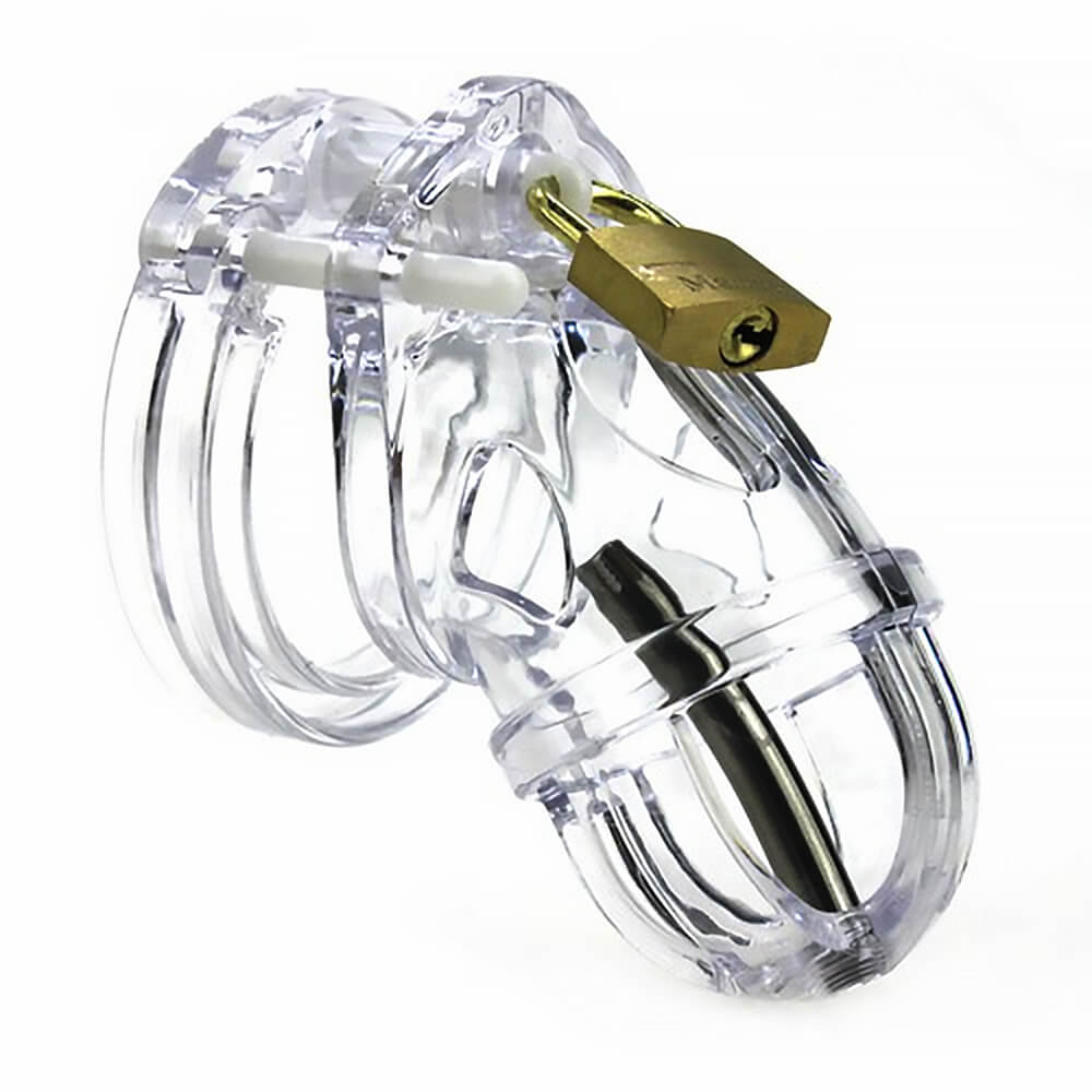Cage de chasteté homme transparente avec plug urétral