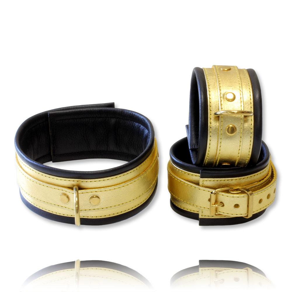 Set entraves menottes + collier cuir doré et noir 5cm