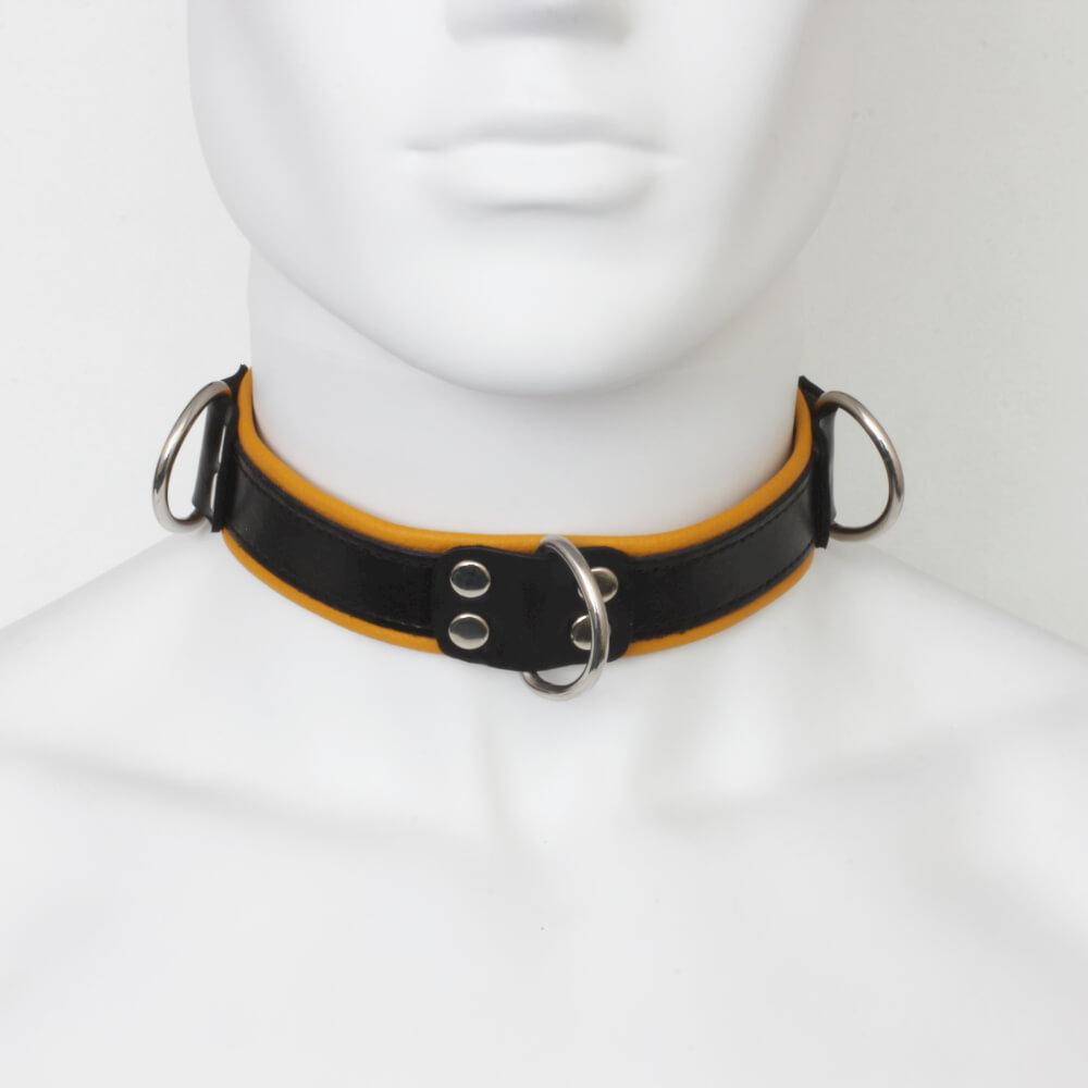 Collier d'esclave cuir noir et jaune