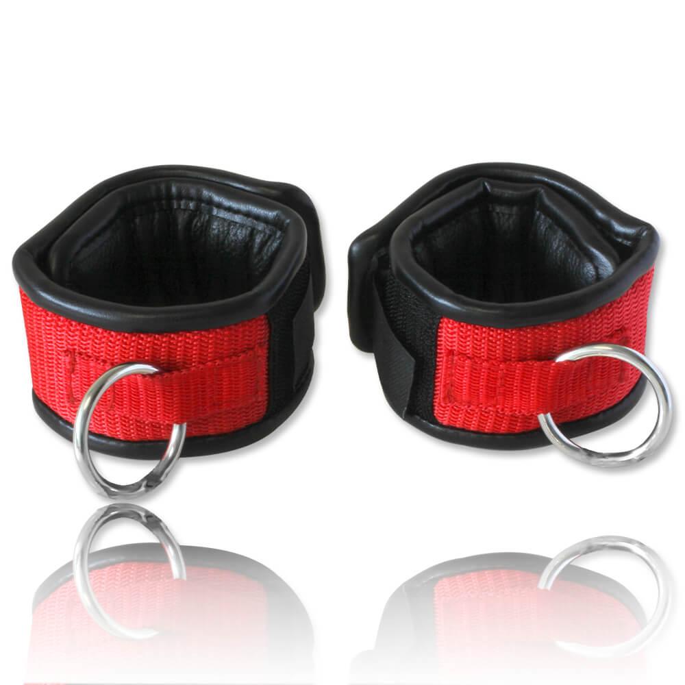 Paire de menottes cuir et polyester noir et rouge 5cm