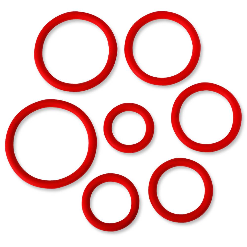 Kit 7 cockrings anneaux de gland silicone rouge