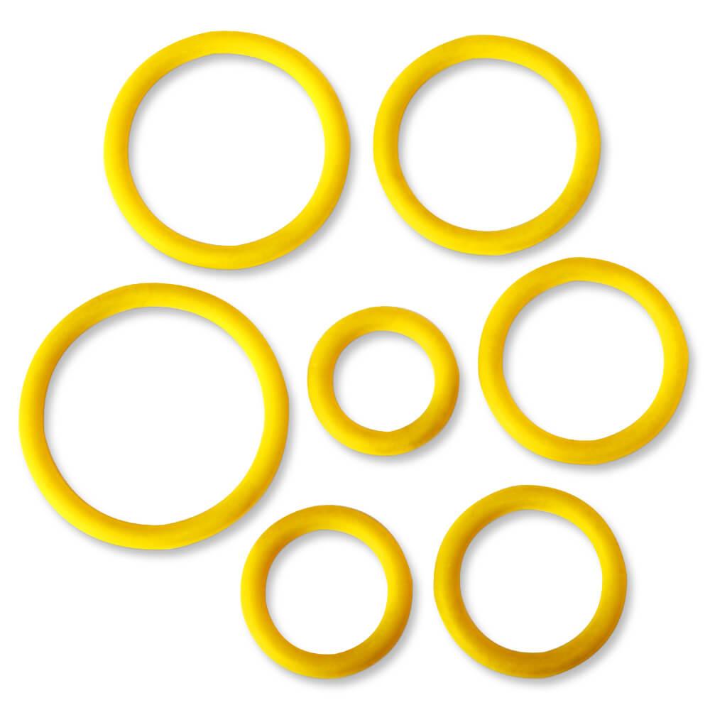 Kit 7 cockrings anneaux de glands silicone jaune