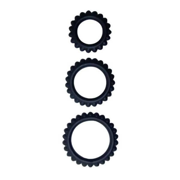 Kit 3 cockrings anneaux de gland silicone noir