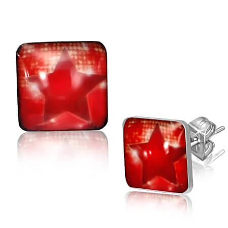 Clous d'oreille carré acier logo Red star