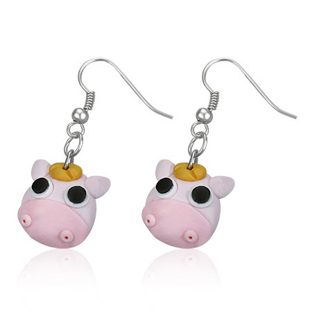 Pendants d'oreille FIMO Vache rose