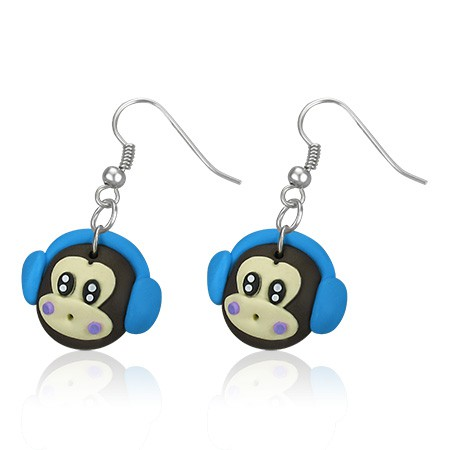 Pendants d'oreille FIMO Monkey Boy