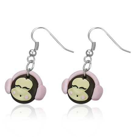 Pendants d'oreille FIMO Monkey Girl