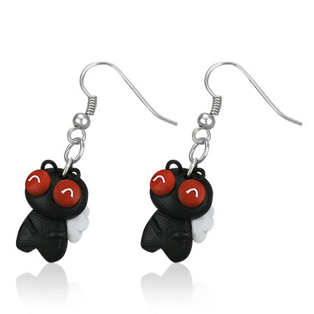 Pendants d'oreille FIMO Black Fly