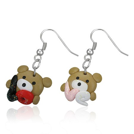 Pendants d'oreille FIMO Glitter Love Bear