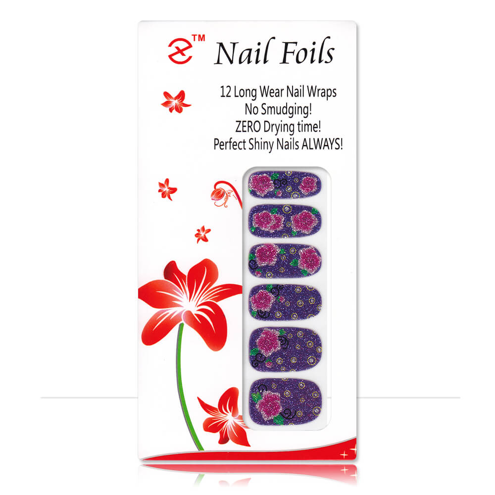 Pack stickers 12 ongles pailletés Fleur rose fond violet