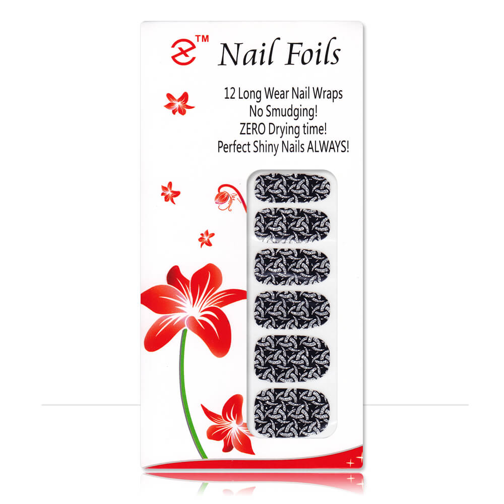 Pack stickers 12 ongles pailletés Maille