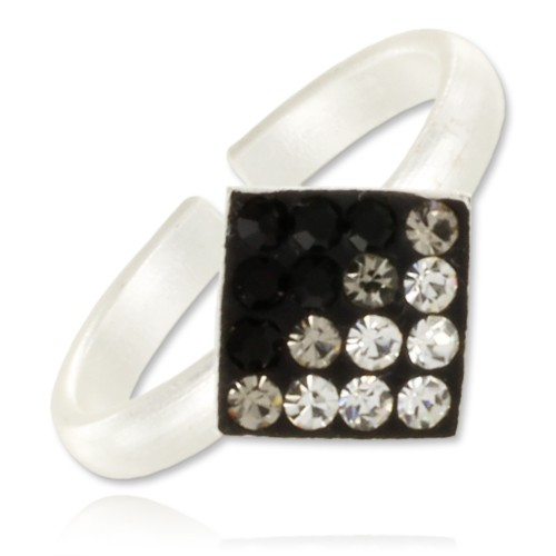 Bague d'orteil Square Crystal Blackmix