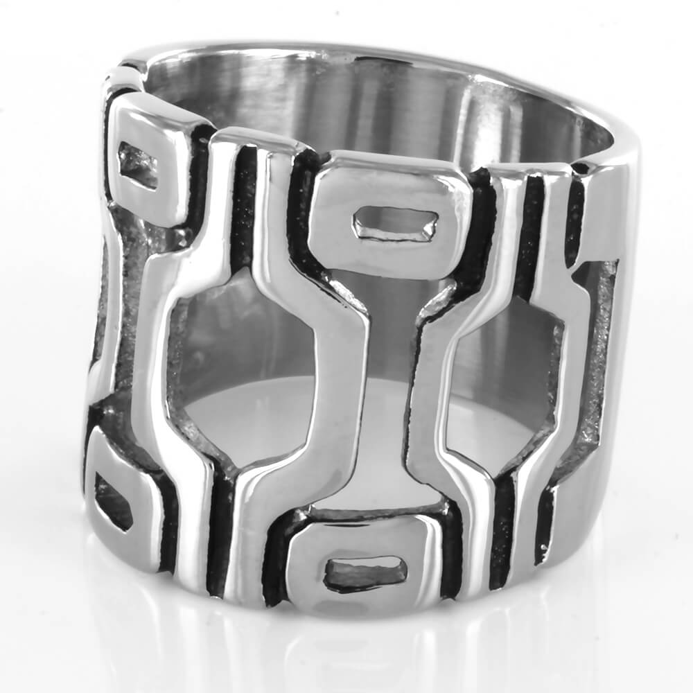 Bague acier Geometric Cut Out
