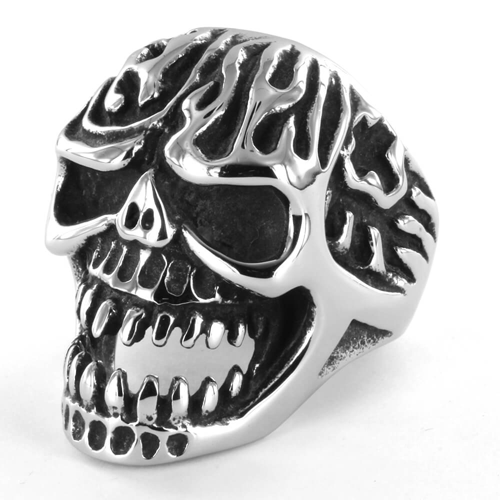 Bague acier Cracked Head Ghost Skull