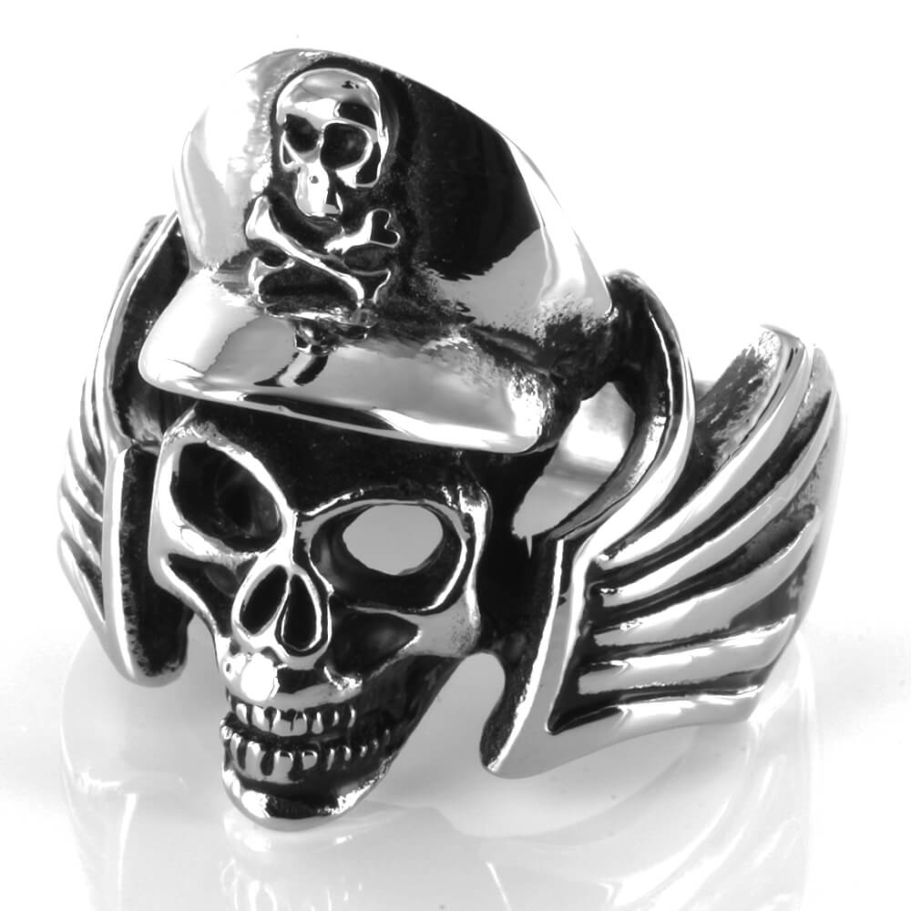 Bague acier Crossbones Winged Ghost Skull