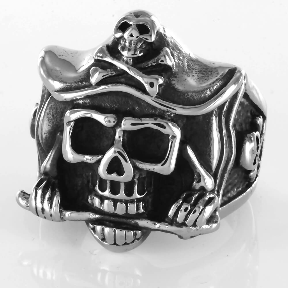 Bague acier Crossbones Captain Pirate Skull