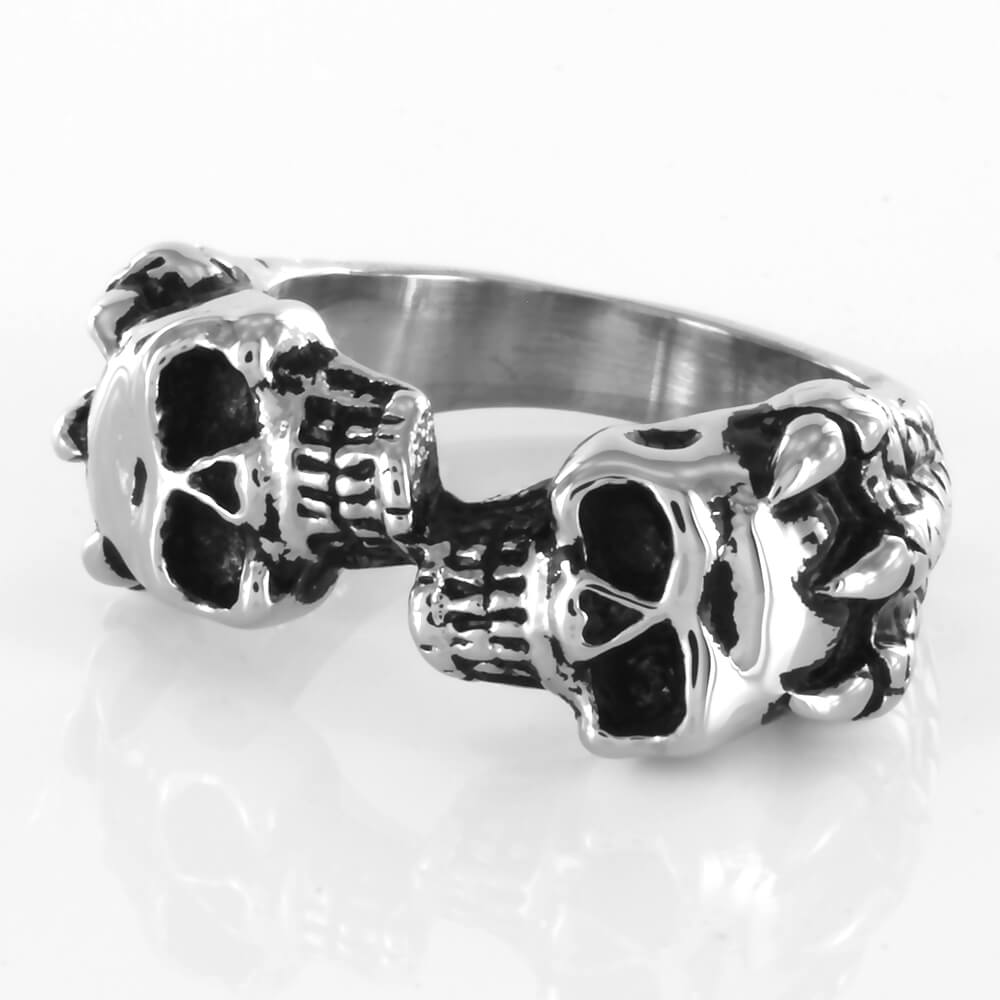 Bague acier Claw Double Ghost Skull