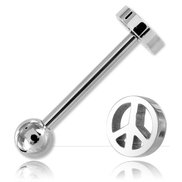 Barbell de langue acier Peace and Love