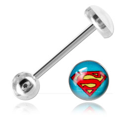 Barbell de langue acier logo Superman