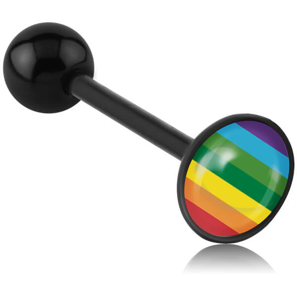 Barbell de langue acrylique logo disque Rainbow Flag