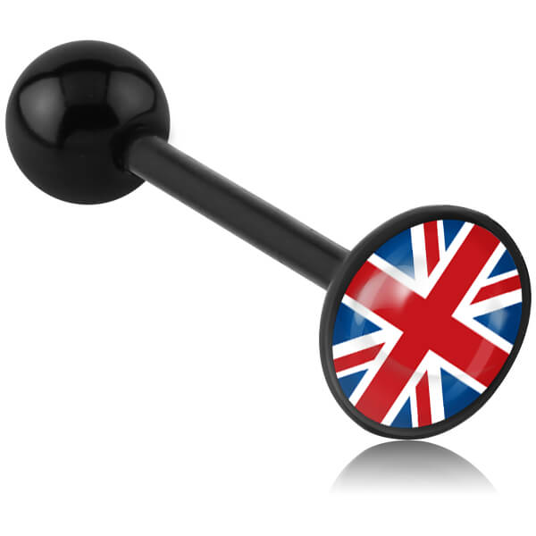 Barbell de langue acrylique logo disque UK Union Jack