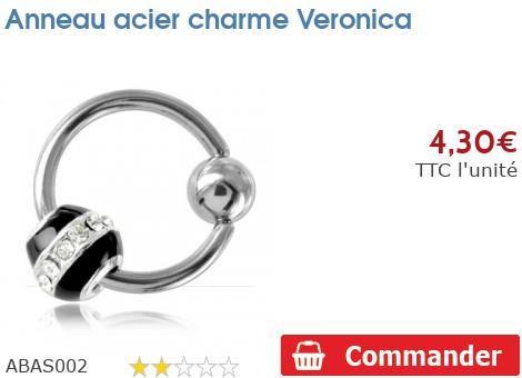 Anneau acier charme Veronica