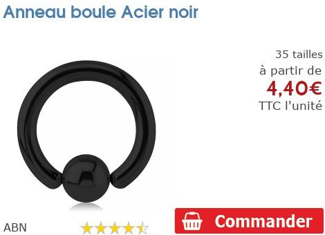 Anneau boule Acier noir