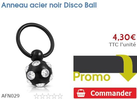 Anneau acier noir Discoball
