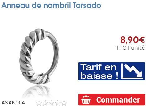 Piercing anneau de nombril Torsado