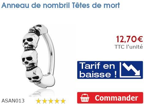 Piercing anneau de nombril Tête de mort
