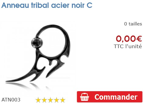 Anneau tribal acier noir C