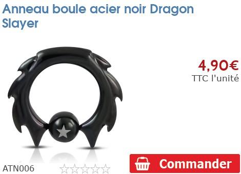 Anneau boule acier noir Dragon Slayer