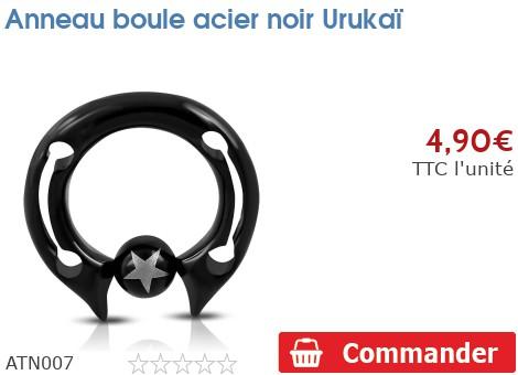 Anneau boule acier noir Urukaï