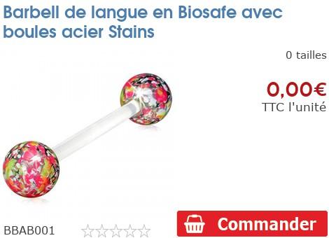 Barbell de langue en Biosafe avec boules acier Stains