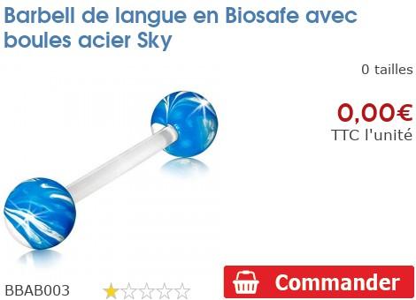 Barbell de langue en Biosafe avec boules acier Sky