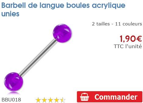 Barbell de langue boules acrylique unies