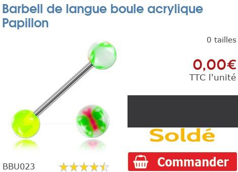 Barbell de langue boule acrylique Papillon