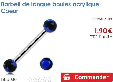 Barbell de langue boules acrylique Coeur