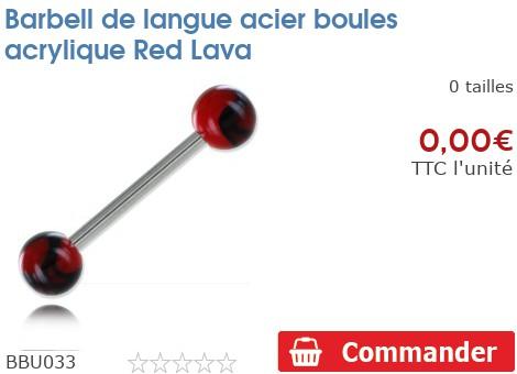 Barbell de langue acier boules acrylique Red Lava