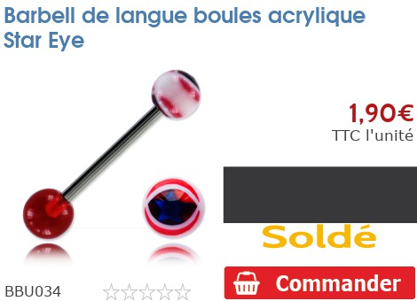 Barbell de langue boules acrylique Star Eye