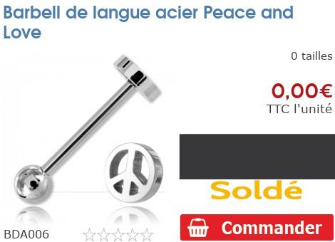 Barbell de langue acier Peace and Love