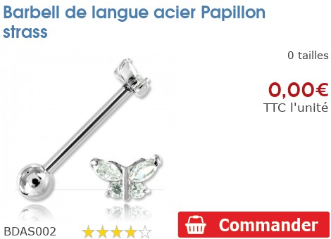 Barbell de langue acier Papillon strass
