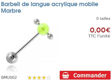 Barbell de langue acrylique mobile Marbre