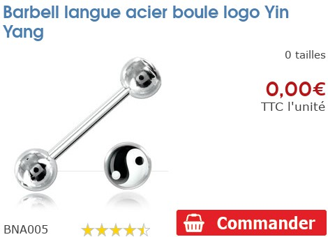 Barbell langue acier boule logo Yin Yang