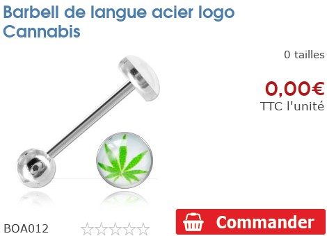 Barbell de langue acier logo Cannabis