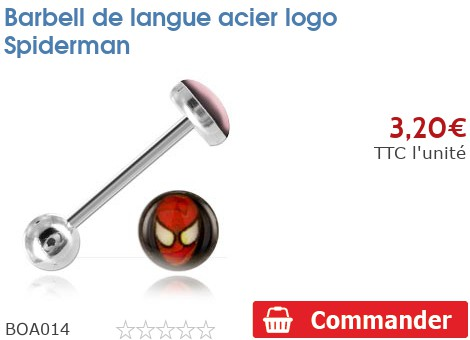 Barbell de langue acier logo Spiderman