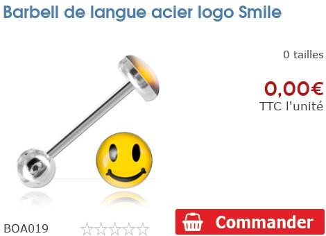 Barbell de langue acier logo Smiley