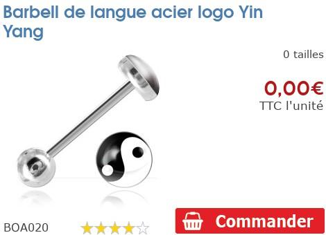 Barbell de langue acier logo Yin Yang